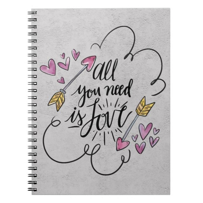 Love Quote Hearts Arrows Purple Yellow Gray Notebook | Zazzle.com