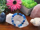 "New Rustic Genuine Layered Blue Agate Crystal Beaded Cuff 8"" Bracelet w/Bling!"