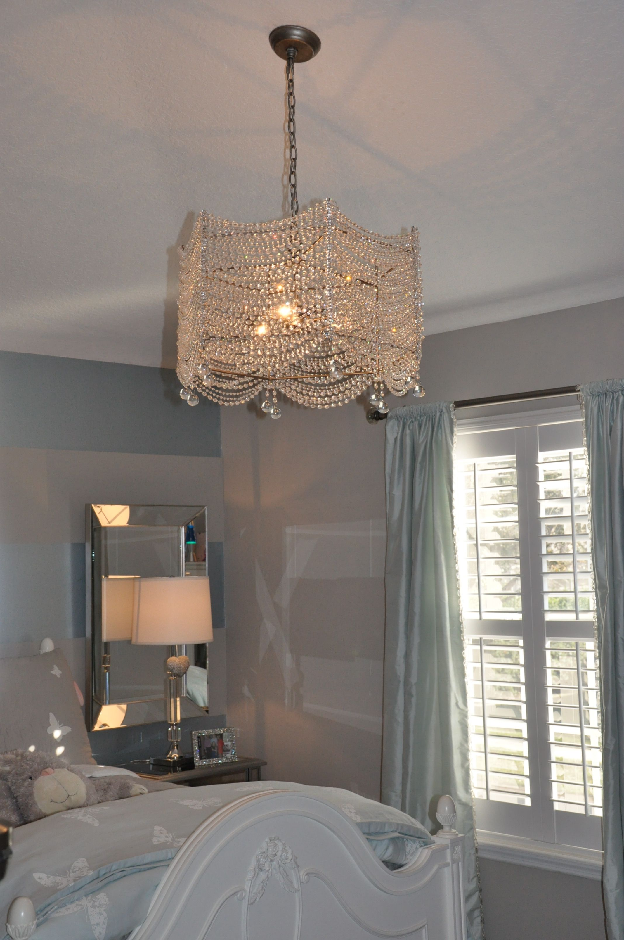 Restoration Hardware Crystal chandelier blue and silver girl room