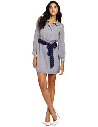 Love the printed sash/striped shirtdress combo. (Dress by Lilly Pulitzer)