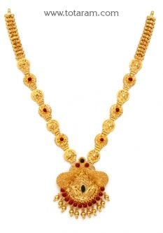 Buy 22K Gold 'Peacock' Necklace - GN1653 with a list price of $1,332.99 - 22K Indian Gold Jewelry from Totaram Jewelers