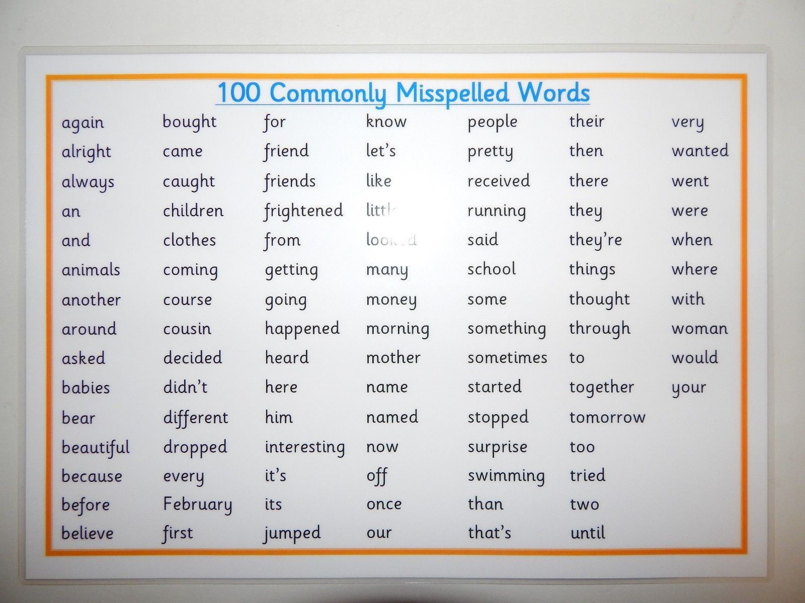 100 Commonly Misspelled Words