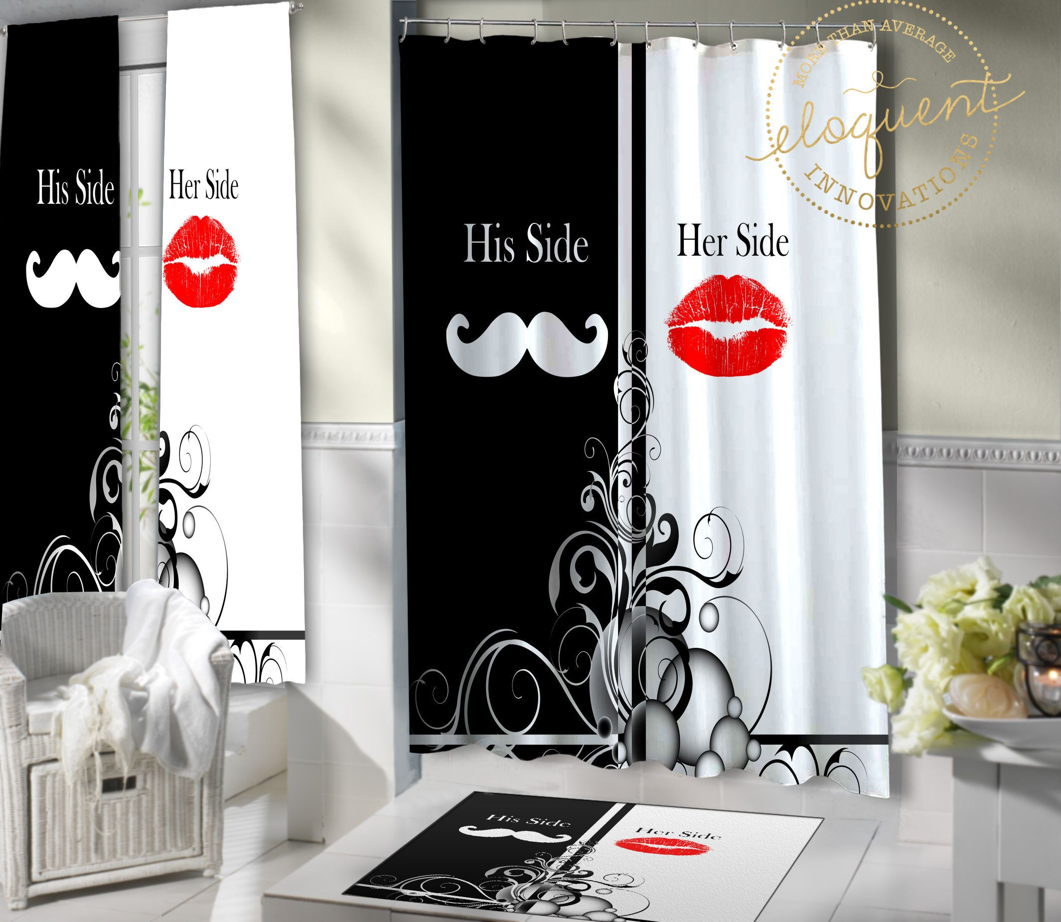 Fun Shower Curtain with His and Hers Sides, Mustache and