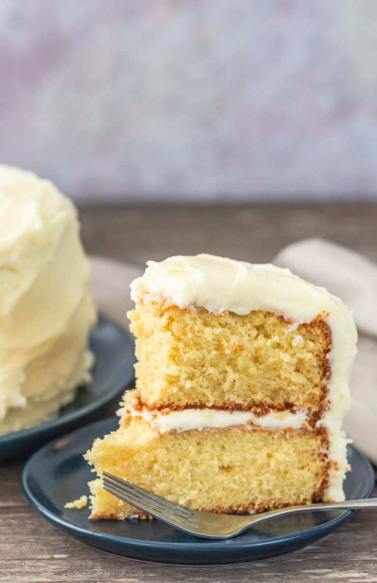 Moist French Vanilla Cake from Scratch #frenchvanillacreamerrecipe You'll want to make this moist french vanilla cake from scratch every day. Add this fluffy cake to your best cake recipe list because it's sure to be a favorite. This cake is super moist and jam packed with french vanilla flavor, then it's covered in french vanilla buttercream. #frenchvanillacake #vanillacake #cakerecipe #frenchvanillacreamerrecipe