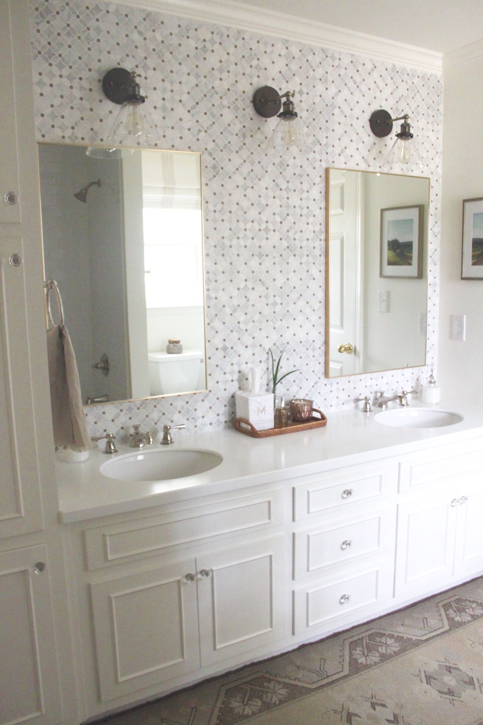 Traditional White Jack And Jill Bathroom Renovation Remodel Decor