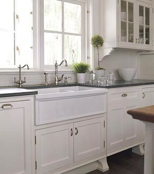 Apron Sink White Cabinets Dark Counter Tops With Images