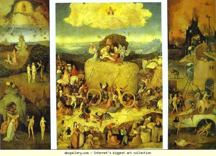 Hieronymus Bosch. Haywain Triptych. Olga's Gallery - Haywain Triptych. 1485-1490. Oil on panel. Museo del Prado, Madrid, Spain