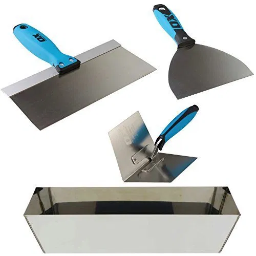 Ox Pro Drywall Finishing Tool Set With Stainless Steel Mud Pan Drywall Finishing Finishing Tools Tools
