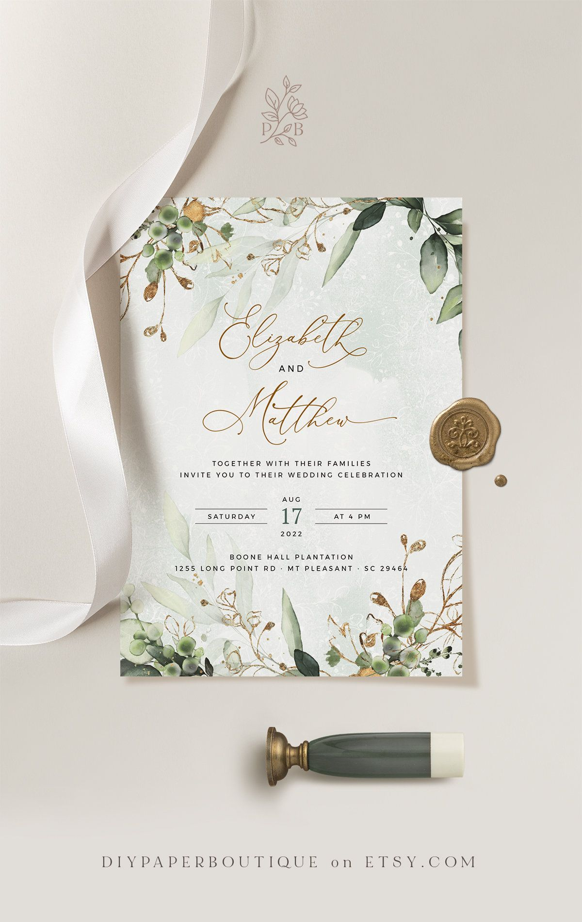 Cleo Faux Gold Wedding Invitation Template Boho Wedding Invite Template Wedding Invitation Invitation Template Download Invites Set Wedding Invitation Templates Wedding Invitations Boho Gold Wedding Invitations
