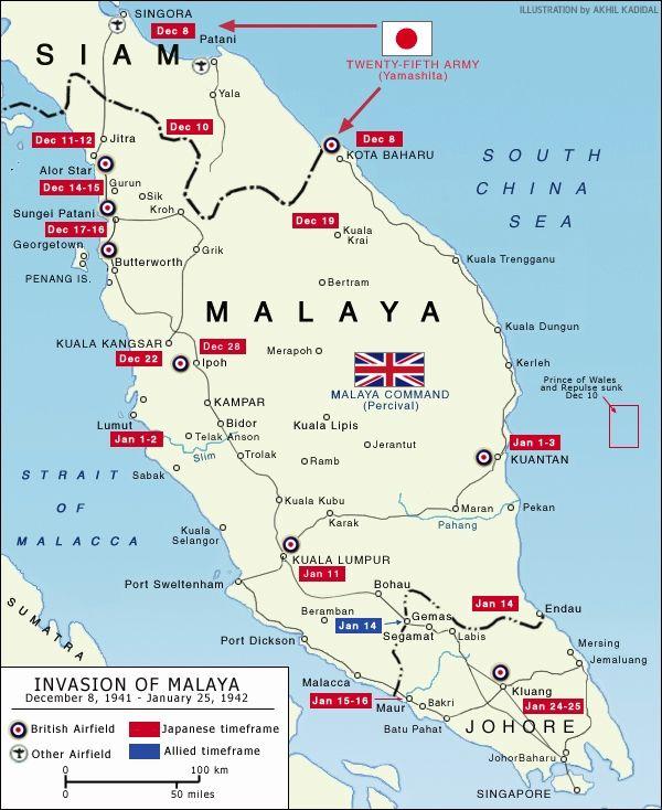 Wwii Map Of Japanese Invasion Of Malaya World War 2 Malaya