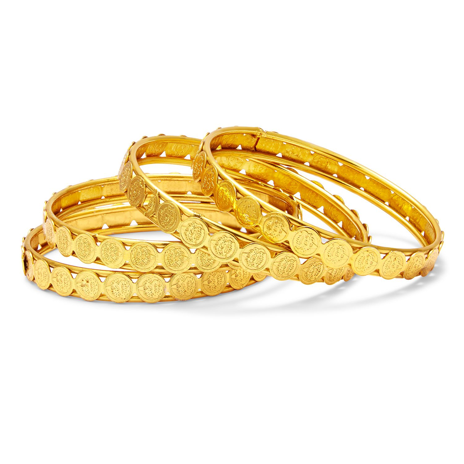 Temple Jewellery Gold Plated Coin Bangle For Women