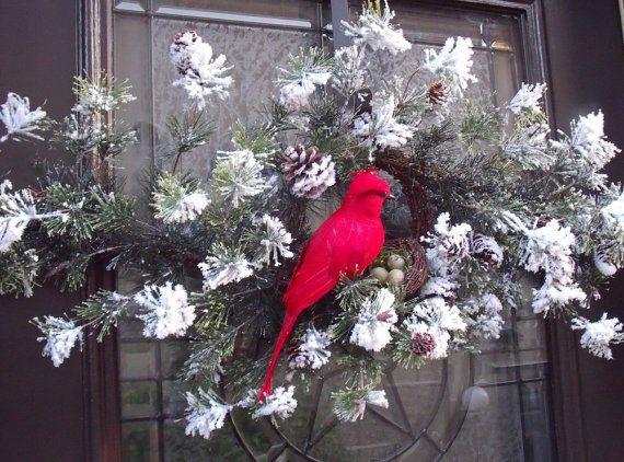 Christmas Wreath Cardinal Christmas Swag Bird Nest by LuxeWreaths & Christmas Wreath Cardinal Christmas Swag Bird Nest by LuxeWreaths ... Pezcame.Com