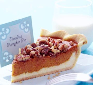 """PARADISE PUMPKIN PIE ('Our 20 Best Recipes of All Time' Midwest Living magazine -  """"A cheesecake layer and nut topping help this pumpkin pie stand out from its peers. This recipe was a winner at the Morton, Illinois, Pumpkin Festival baking competition, and it's been one of our most-requested recipes"""")"""