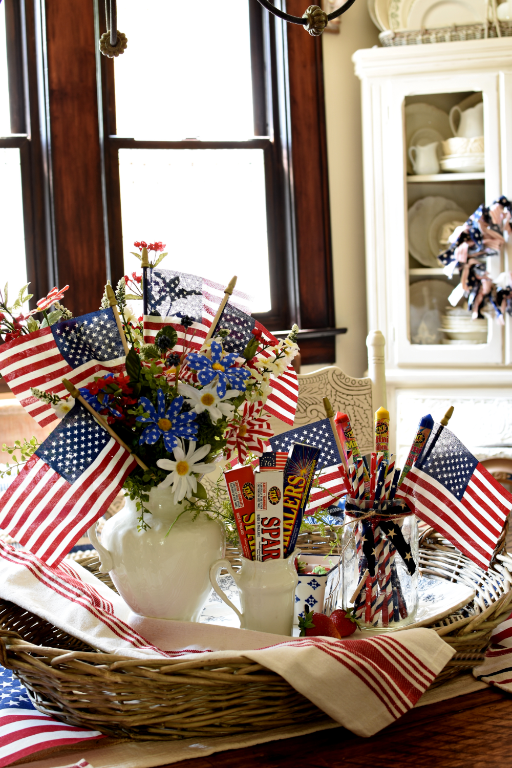 Farmhouse Fourth of July Vignette Pinterest Challenge