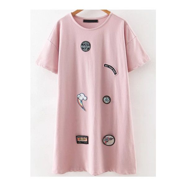 SheIn(sheinside) Pink Round Neck Patch Tee Dress (€20) ❤ liked on Polyvore featuring dresses, pink, round neck dress, pink day dress, pink t shirt dress, round neckline dress and tee dress