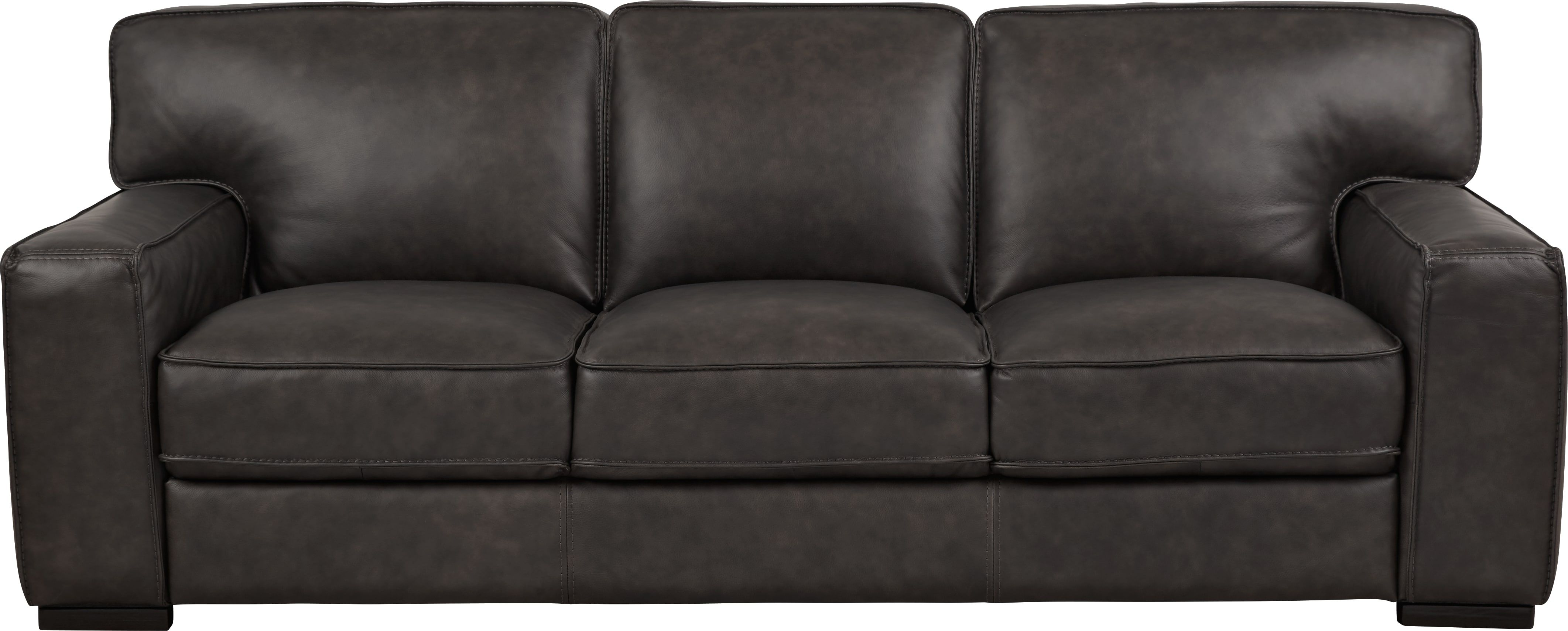 Deangelo Dark Gray Leather Sofa Grey Leather Sofa Leather Sofa Dark Grey Couch Living Room