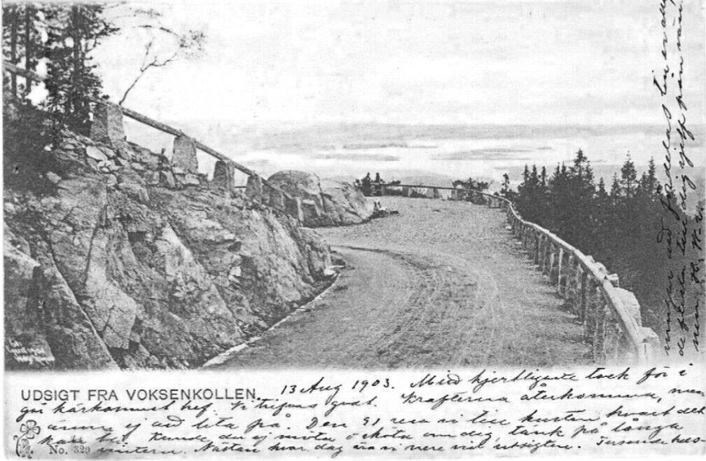 Christiania Kristiania utsikt fra Voksenkollen over byen og fjorden brukt 1903 Utg P.  Alstrup