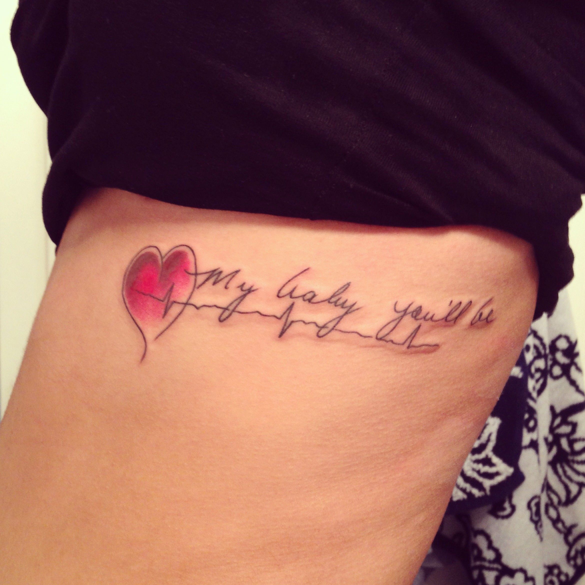 Mom Dad Heartbeat Tattoo: Unique Red Heart & Heartbeat Tattoo Quotes On Side