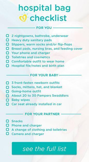 Hospital Bag Checklist \u2013 What to Pack Hospital bag checklist