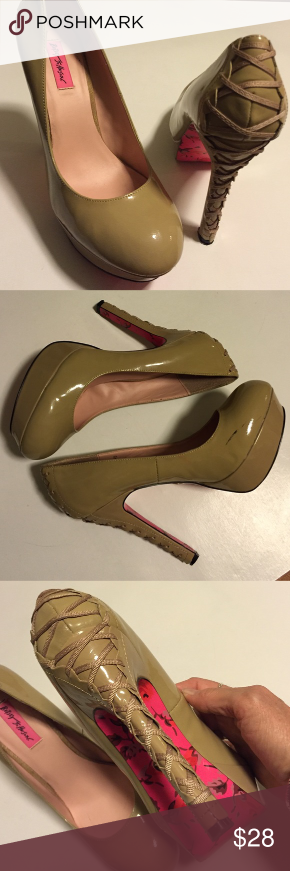 "EUC Betsey Johnson leather heels Excellent condition; These shoes are not for the faint of heart! Fierce!!! Beige patent leather with 5"" laced heels and 1 1/2"" platform. Actually more comfortable than you'd think because of the platform size. There are a few black scuff marks as shown. These are your next pair of party shoes!! Smoke-free/pet-free home. Betsey Johnson Shoes Heels"