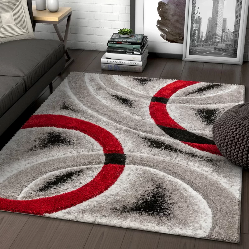 San Francisco Shag Red Black Gray Area Rug Area Rugs Black Shag