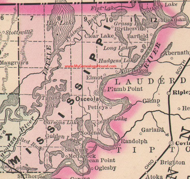 Mississippi County, Arkansas Map 1889 Osceola, Blytheville ...