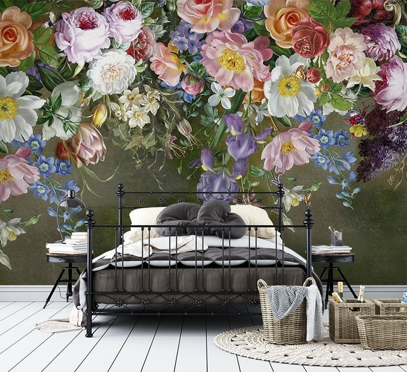 Dutch Flowers Floral Multicolour Wallpaper Mural Self Adhesive Peel And Stick 3d Wall Decor Australian Company Bedroom Wall Decor Mural Wallpaper Removable Wall Murals Wall Decor Bedroom