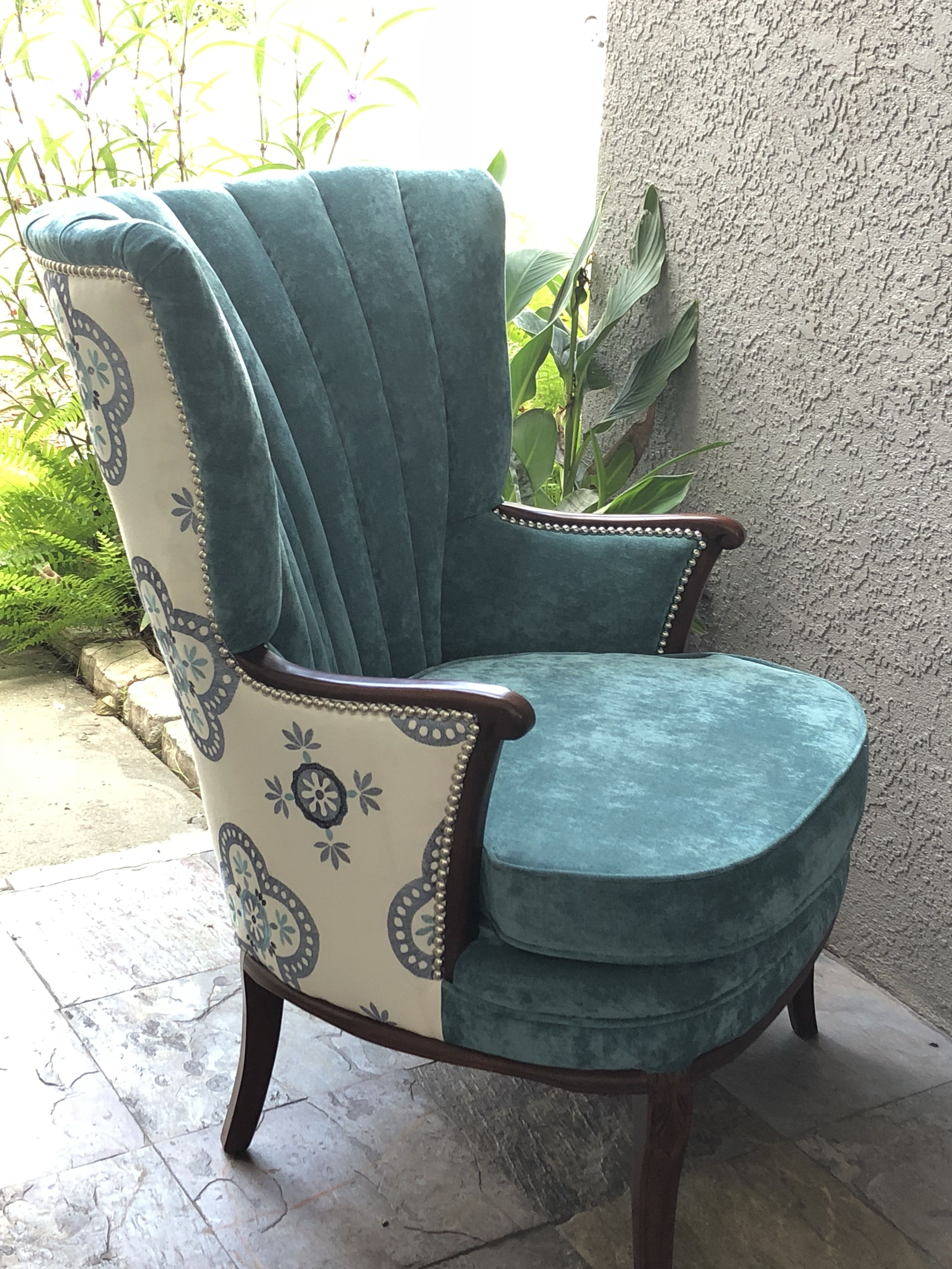 Reupholstered Antique Channel Chair Living Room Upholstery