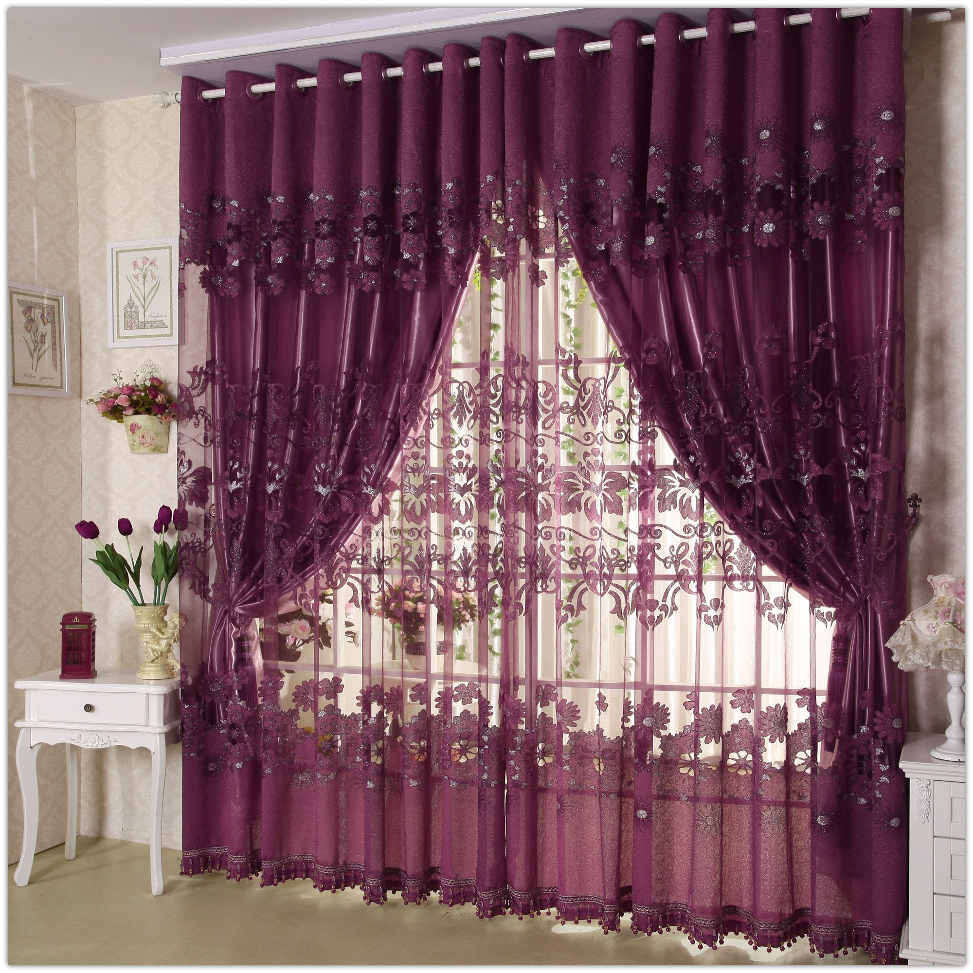 Charming Design Of Modern Curtain Presenting Elegant Purple Theme Combined By Florals On The Vitrage And
