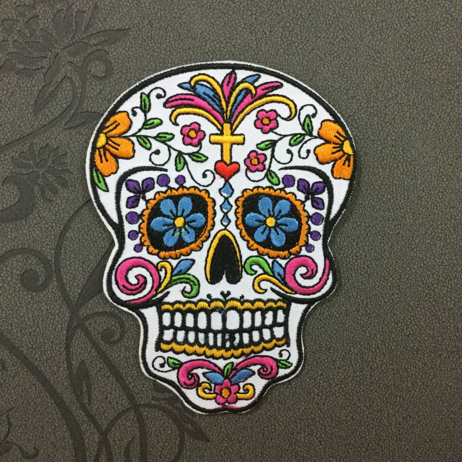 White Sugar Skull Patches iron on patch Sew on patch punk ...