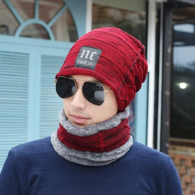 235ae047a1 New thick warm hat+collar two pcs sets women men winter cold wear caps scarf  boys girls knit beanies accessories