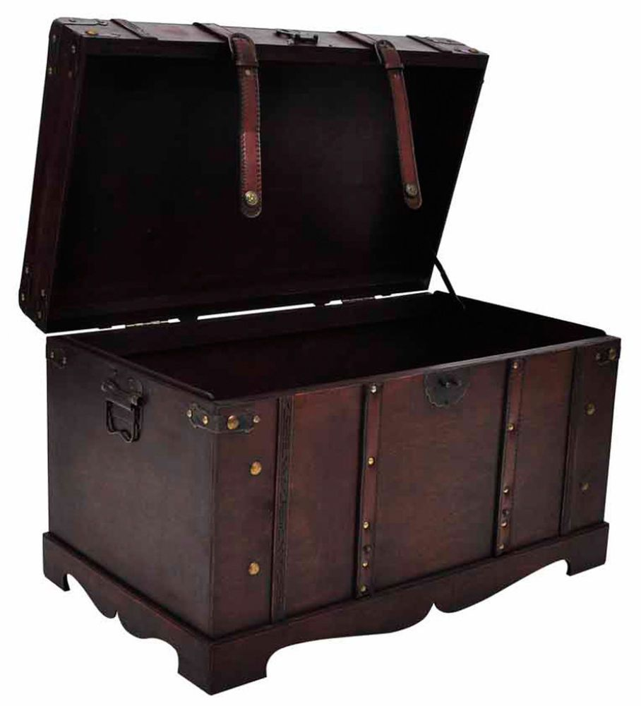 Vintage Treasure Chest Wood Storage Trunk Box Home Bedroom Decor