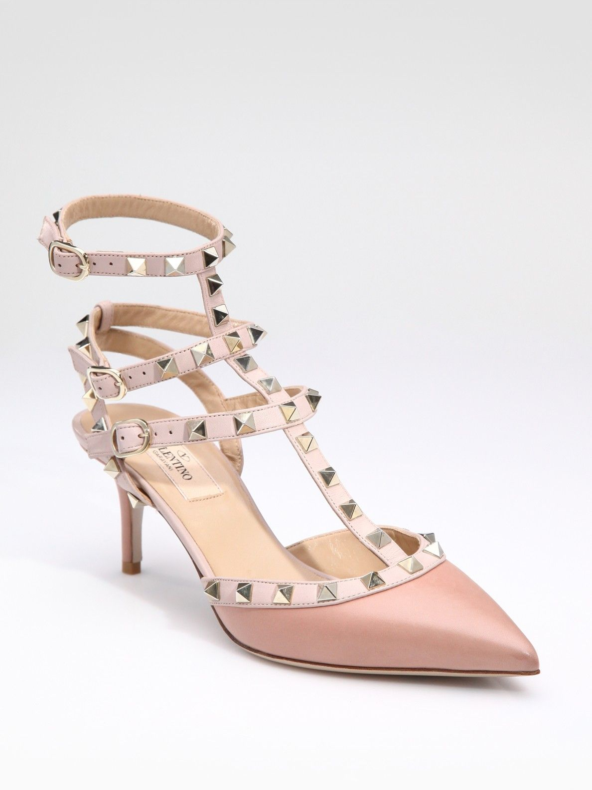 6dfc8c8408a9 Valentino Rockstud Leather Runway Pump in Pink