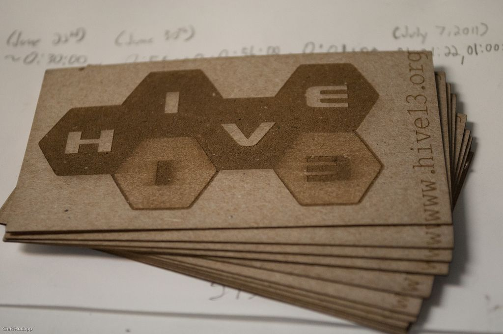 Business Card • Hive 13 • laser cut and etched into old cereal ...