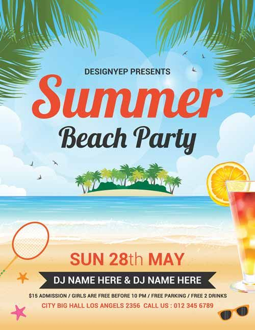 Summer Beach Party Free Flyer Psd Template  HttpFreepsdflyerCom