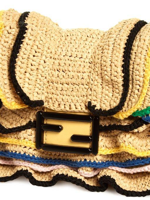 c37d44bd909a Fendi Baguette Wave raffia cross-body bag