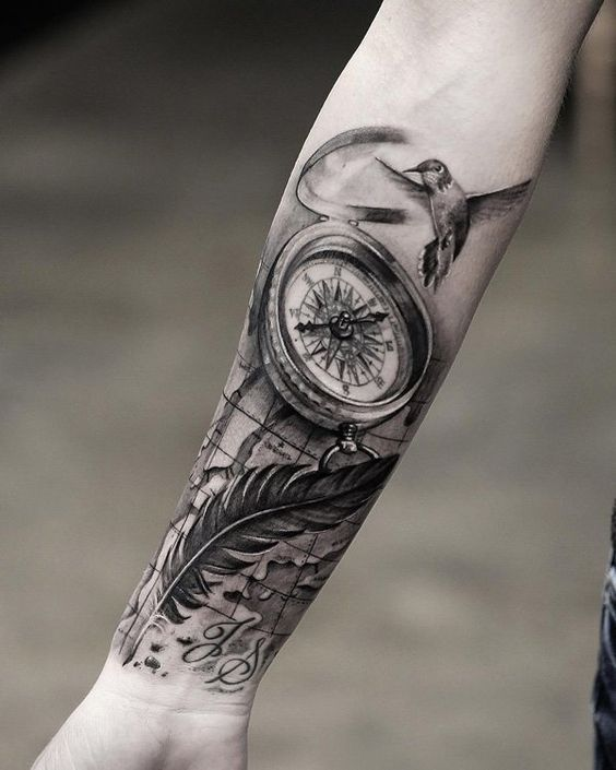 Compass and feather forearm tattoo - 100 Awesome Compass Tattoo ...