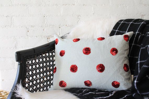 red sequin dots on sage green gray pillow by DarciTowns on Etsy