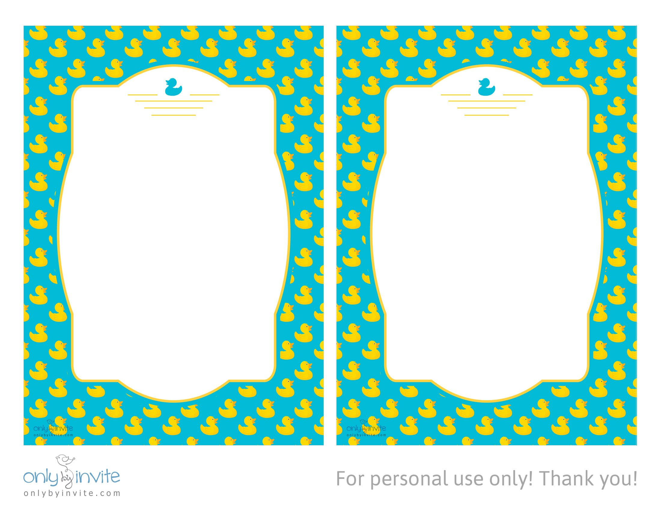 rubber duckie free printable baby shower invitation template ...