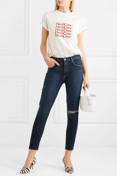 Kendall Distressed High-rise Skinny Jeans - White GRLFRND mNiDe