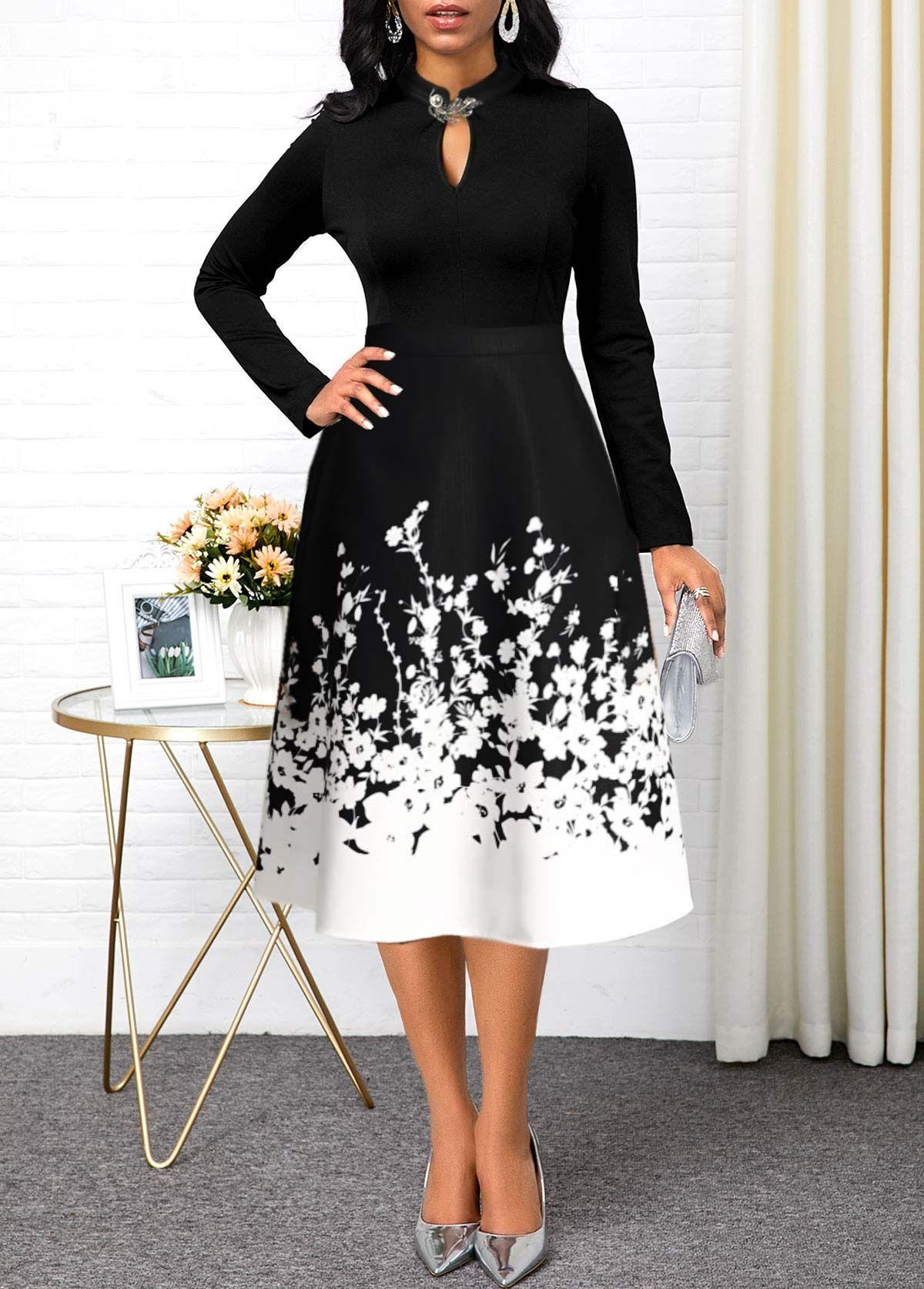 Long Sleeve Floral Print Keyhole Neckline Dress in 2020