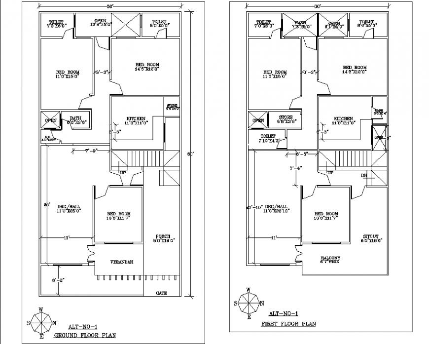 Ground Floor And First Floor Plan Of Bungalow In Dwg File One Floor House Plans Floor Plans Floor Layout