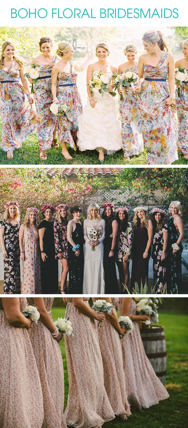 Tips And Inspiration For Making Floral Bridesmaid Dresses Work Bridesmaid Dresses Boho Floral Bridesmaid Dresses Patterned Bridesmaid Dresses