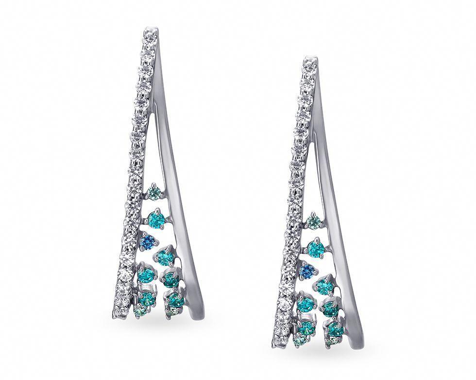 ef99491e9057b Mia Glam by Tanishq 14KT White Gold Cubic Zirconia Hoop Earrings ...