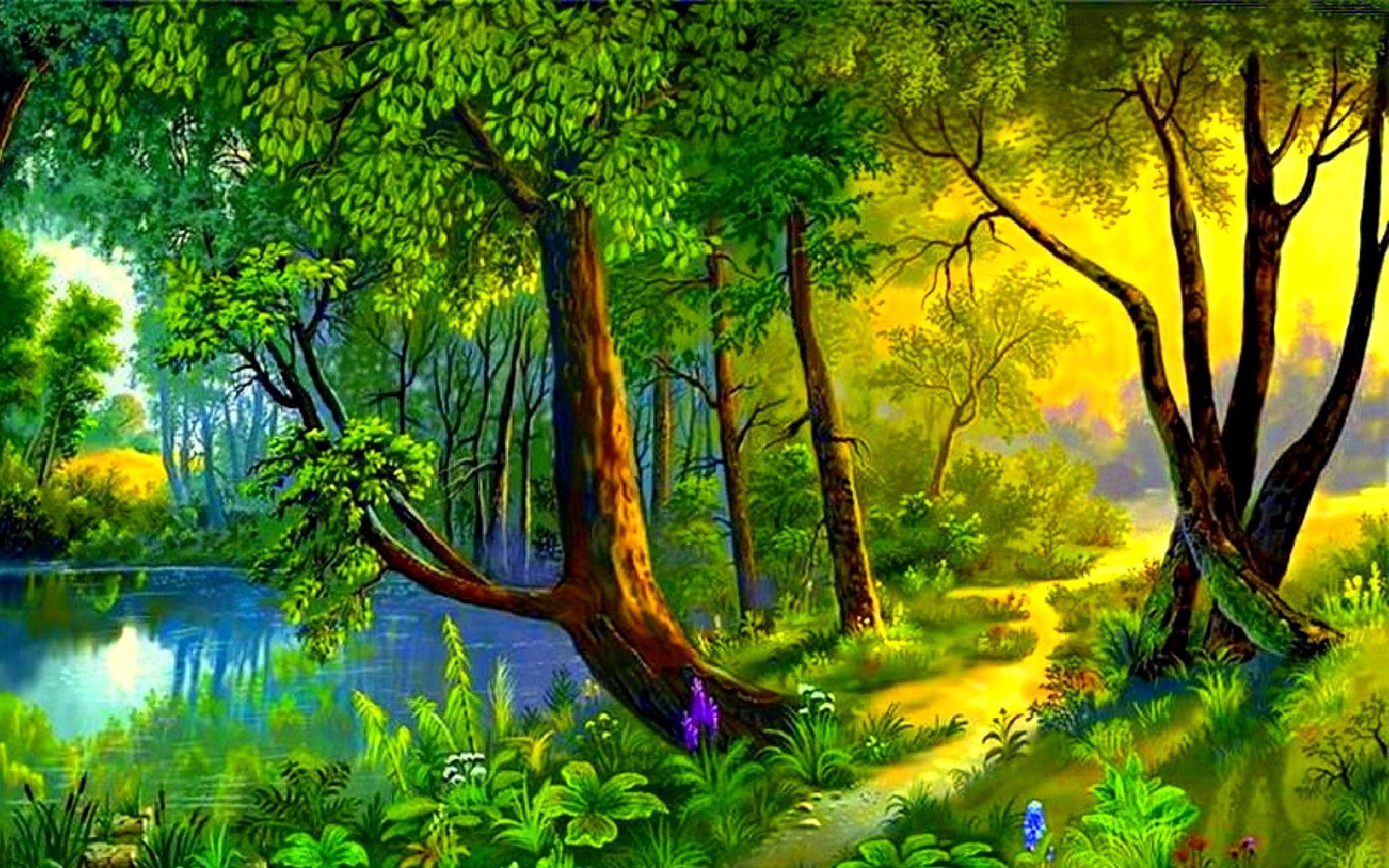 Картинка лес с рекой для детей