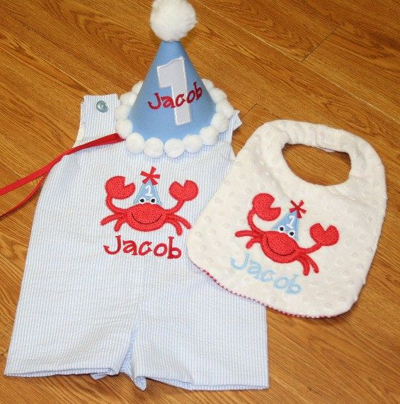 First Birthday Boy Monogrammed Jon Jon Bib Hat By