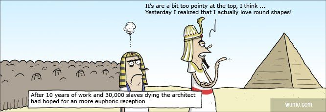 La importancia de un buen briefing previo Ancient EgyptAt The TopWaterfall  JokesArchitectsFunnyCartoon