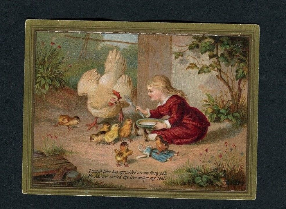 Victorian Greetings Card,Embossed ,Girl ,Doll,feeding Chickens.