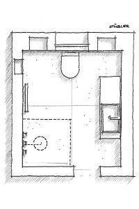 Grundriss eines gut geplanten Kleinbades.