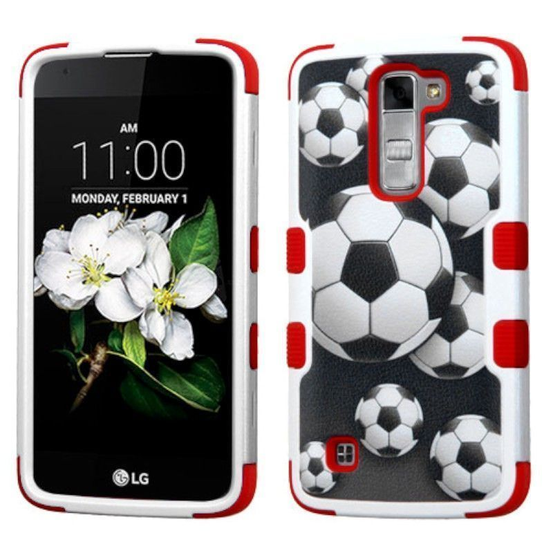 Insten Soccer Ball Collage Tuff Hard PC/ Silicone Dual Layer Hybrid Rubberized Matte Case Cover For LG K7